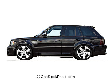 Tuned SUV - Tuned black luxury SUV isolated on white