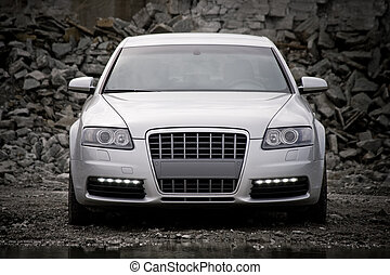 Top-front view of a luxury car - Front view of a luxury...