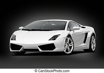 3/4 view of white supercar on black background