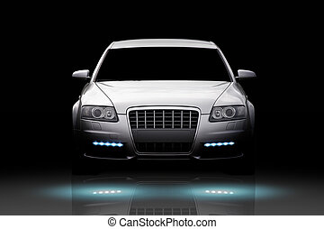 Luxury car isolated - Front view of a luxury sport sedan...
