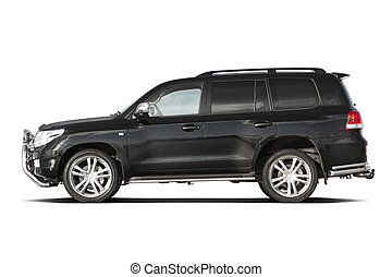 Black tuned SUV - Side view of black tuned luxury SUV...