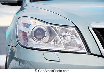 Front light of a modern car closeup