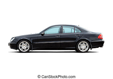 Luxury sedan - Luxury personalized black sedan isolated on...