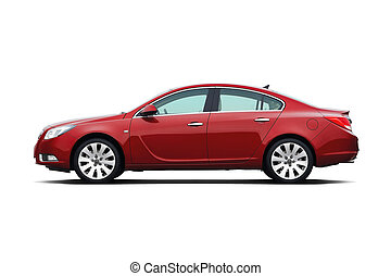 Business sedan - Cherry red business sedan isolated on white