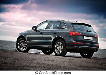 Luxury SUV rear view - Rear view of a luxury SUV near the...