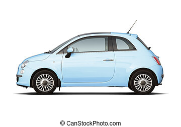 Compact hatchback - Light blue retro style