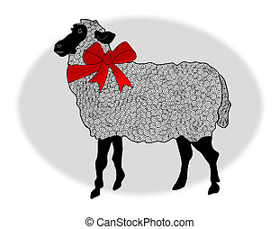 Wooly Sheep - A wooly black faced sheep wearing a red ribbon