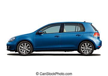 Blue hatchback