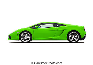 Supercar - Green modern supercar isolated on white