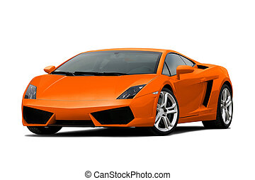 34 view of orange supercar isolated on white