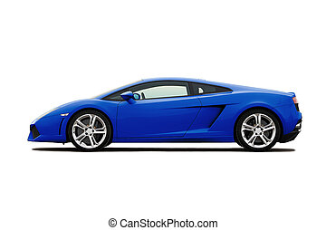 Supercar - Bright blue supercar isolated on white
