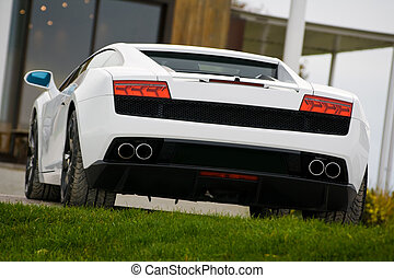 Supercar in golf club - Rear view of exclusive supercar in...