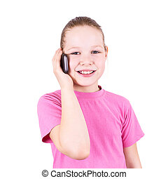 The girl on the phone on a white background