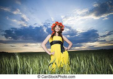 Beautiful girl in the wheat field - Beautiful girl in floral...