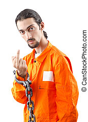 Criminal in orange robe in prison