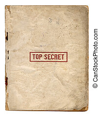 Top Secret Files Front Page With Red Stamp Isolated On White...
