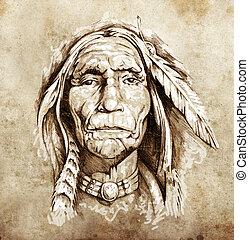 Sketch of tattoo art, portrait of american indian head