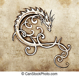 Sketch of tattoo art, decorative dragon - Sketch of tattoo...