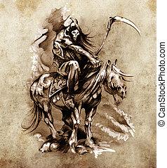 Esboço, tatuagem, arte, medieval, guerreira, cavalo