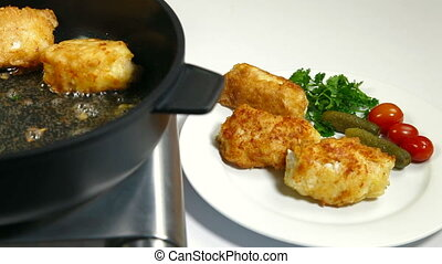 Frying Chicken Breast Rolls