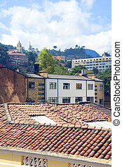 rooftop view La Candelaria Bogota Colombia historic architecture church on mountain South America