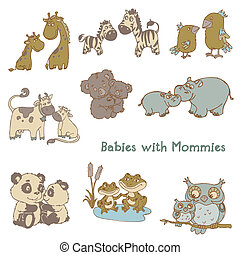 Babies with Their Mommies - hand drawn in vector