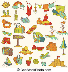 Summer holiday doodle collection - hand drawn in vector