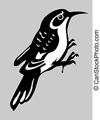 nuthatch silhouette on gray background, vector illustration