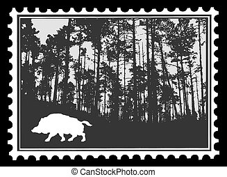 silhouette of the wild boar in wood on postage stamps, vector illustration