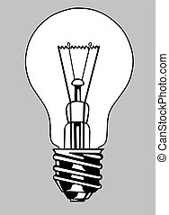 light bulb silhouette on gray background, vector...