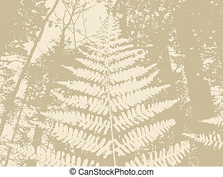 fern silhouette on brown background, vector illustration