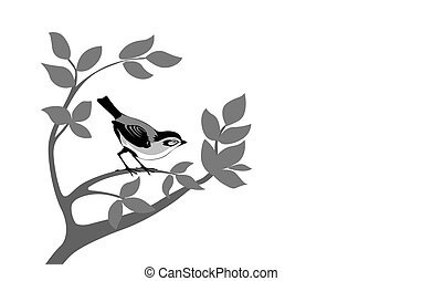 bird silhouette on wood branch, vector illustration