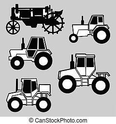 tractor silhouette on gray background, vector illustration
