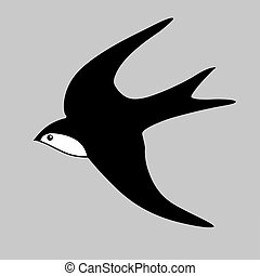 swallow silhouette on gray background, vector illustration