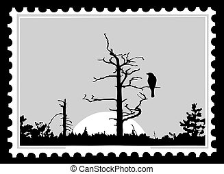 silhouette of the bird on tree on postage stamps, vector...