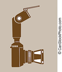 camera silhouette on brown  background, vector illustration