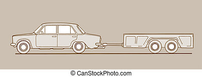 car with trailor on brown  background, vector illustration