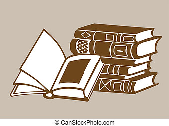 books on brown  background, vector illustration