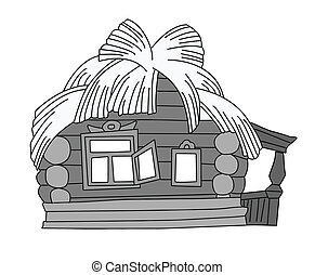 rural house drawing on white background, vector illustration