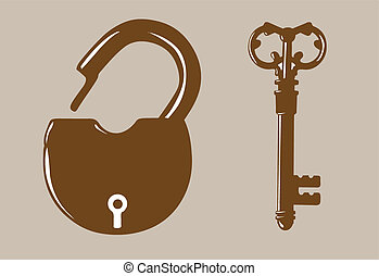 padlock silhouette on brown background, vector illustration