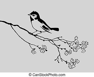 bird silhouette on gray background, vector illustration