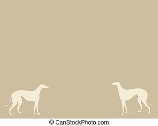 two dogs on brown background, vector illustration
