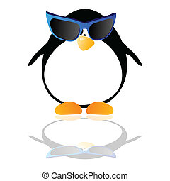 penguin with blue glasses