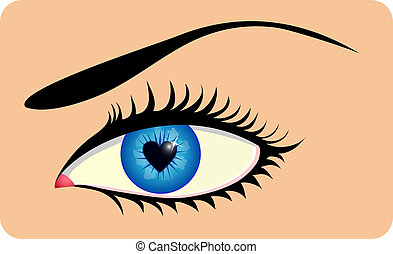 Female eye with heart shaped iris