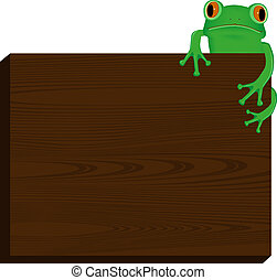 frog sitting on wood background