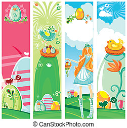 Cute Vertical Easter banners.