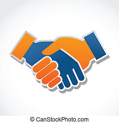handshake abstract vector illustration - handshake icon and...