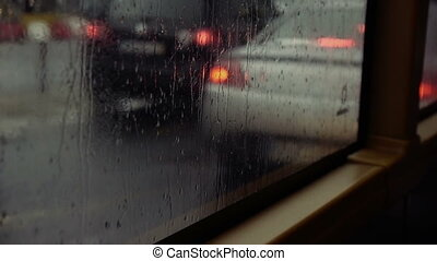 Rainy Bus Window - Looking out of the bus window on a rainy...