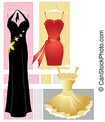 party dresses - an illustration of three party dresses in...