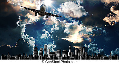 Passenger jet set against cityscape illustration with...